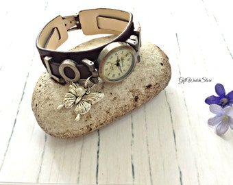 "Retro Leather Watch, Love Leather Band Watch, Leather Bracelet Watch, Wrist Watch, Dark Brown Watch, Vintage Leather Watch ""butterfly"" charm"