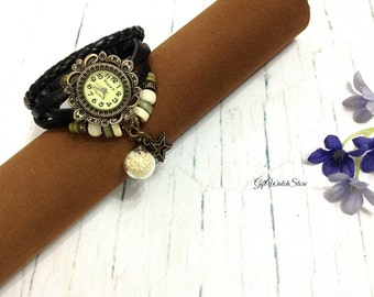 Retro Leather Watch, Leather Wrap Watch, Leather Bracelet Watch, Wrist Leather Watch, Leather Watch, Glass Orb Charm, black, star