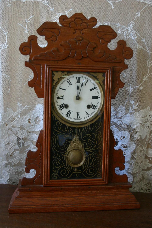 Antique Arts Amp Crafts Style Mantel Clock Gingerbread Mantle
