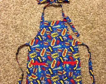Childrens apron and chefs hat