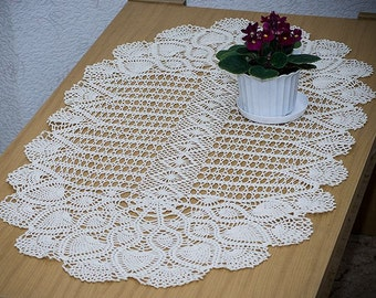 Creamy-natural crocheted tablecloth. Hand crochet doily. Table center, table runner. Handmade decoration. Pure cotton. Oval. Lace.