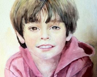 child custom watercolour portrait