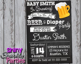 diaper party for dad  etsy, Party invitations