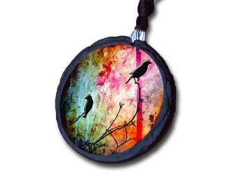 Birds on a branch multicolored slate necklace