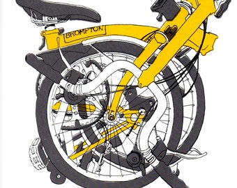 Hand Screenprinted M type Brompton Folded Yellow