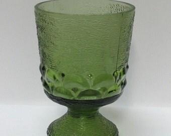 Green glass goblet