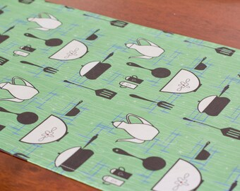 Table Runner – Retro Go Green - Linen Cotton Blend – Bright Green, Black and White