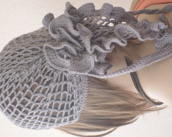 Womens bandana - chunky knit Slouchy gray Beanie Slouch Hat Fall summer Accessories