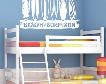 Beach Surf Sun Surfboard Theme Vinyl Wall Graphic Decal. ~ Item 0159