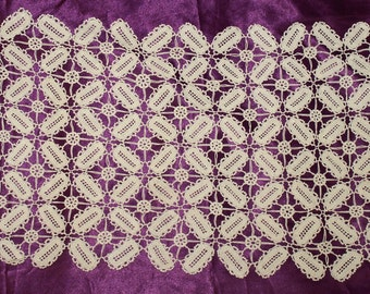 Vintage White Hand Made Crochet Runner Tablecloth from the 60s