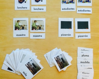 SPANISH Montessori 3 Part Picture Cards - 16 cards - School Vocabulary - PDF Print File