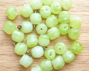 Vintage Glass Beads - Lime Green - Uneven Oval shape