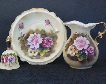 Enesco.  Pitcher, Bowl, and Bell, Rose Pattern, Vintage, Matching Three Piece Set