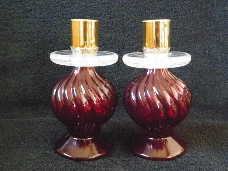 avon red glass candle holders cape cod vintage by jsvintagevillage. Black Bedroom Furniture Sets. Home Design Ideas