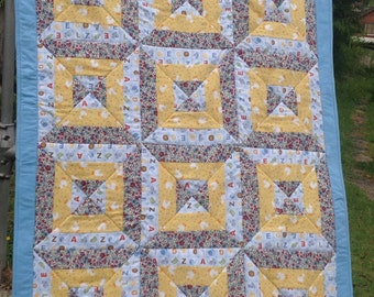 Hour Glass Block Patchwork Baby Quilt