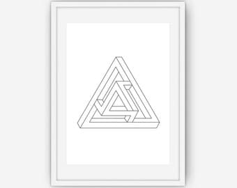 Impossible Geometric Figure Print, Geometric Print, Absract Art, Black and White Print, Wall Art, Printable, Instant Download