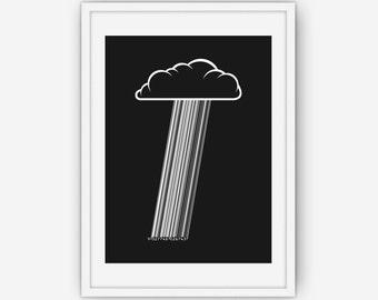 Credit Cloud Print, Cloud Print, Cloud Wall Art, Black and White Print, Wall Art, Printable, Instant Download