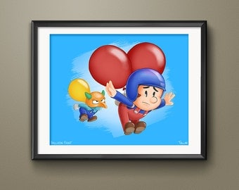 Balloon Fight Video Game Art Print