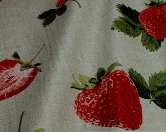 Fabric pure linen nature strawberry big strawberries