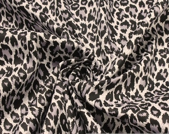 Fabric cotton elastane denim grey leopard Animal Print