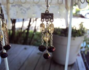 Gold-Flecked and Dark Purple Crystal Chandelier Earrings