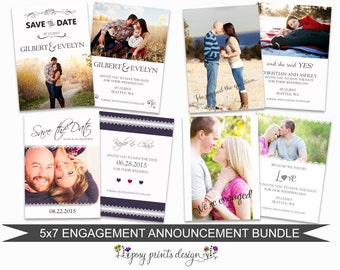 Engagement Announcement Card Bundle of Photoshop Templates - 5x7 Digital Photography Photoshop Files - Template for Photographers - EAB01