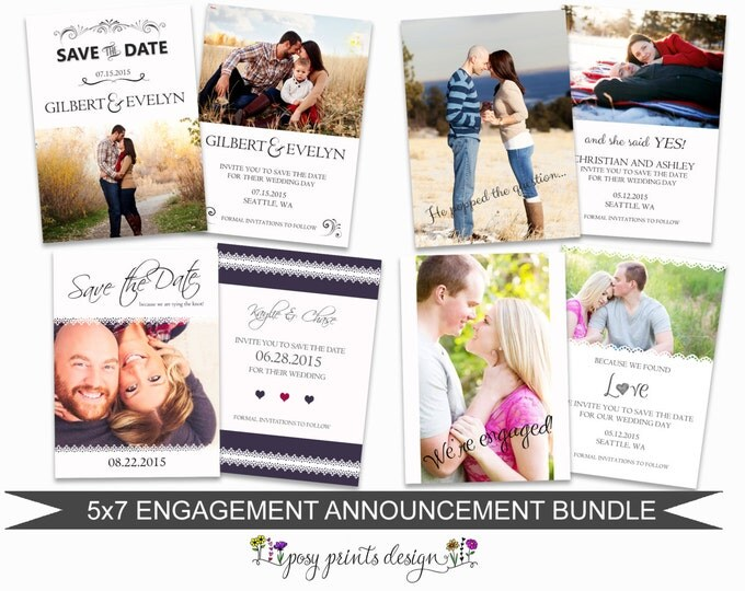 Engagement Announcement Card Bundle of Photoshop Templates - 5x7 Digital Photography Photoshop Files - Template for Photographers - EAB01