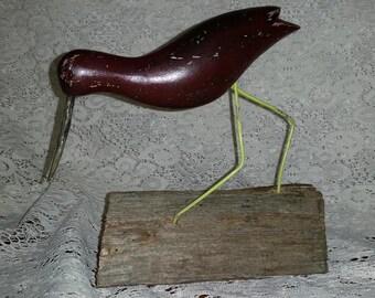 Shorebird wooden carved Bird Hunting Shore Bird OXBLOOD RED