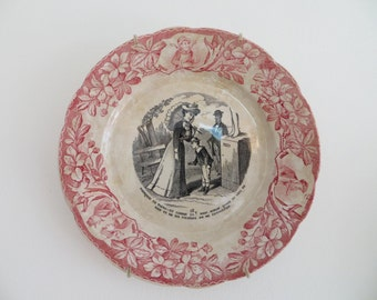 """Very pretty, Badonviller plate, from the """"La Vie Amousante"""" series, in good condition"""