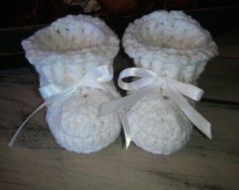 Baby booties, crochet baby booties, kitted baby booties, baby shower gift