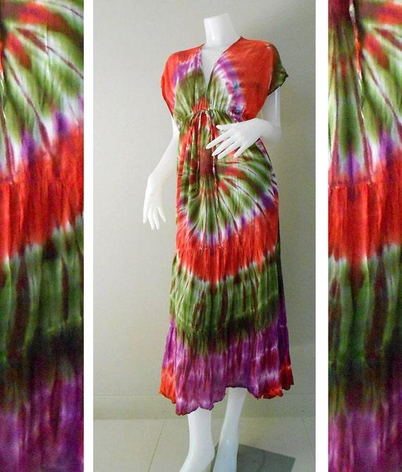 Beach Handmade Tie Dye Cotton Long Kimono Dress/Baby Doll/ Sexy Gypsy Hippie Dress (TD306)