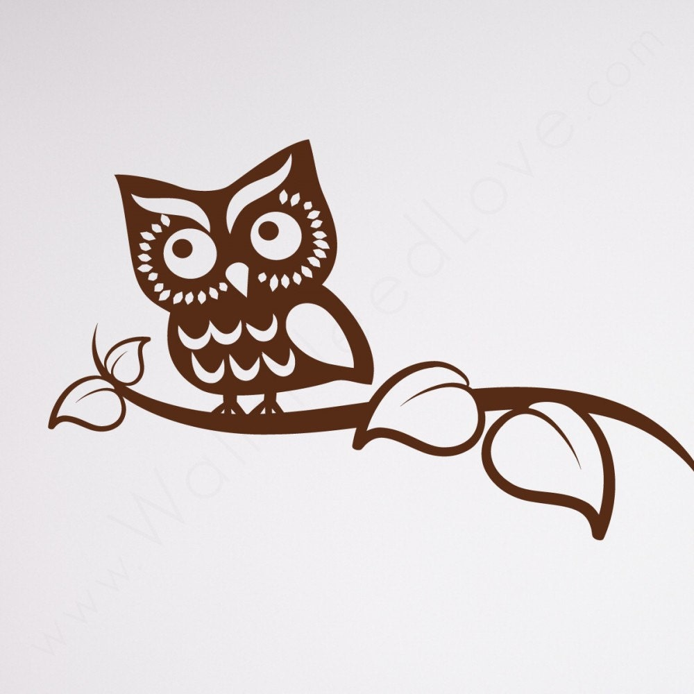 owl on a branch decal sticker funny bumper sticker nursery. Black Bedroom Furniture Sets. Home Design Ideas