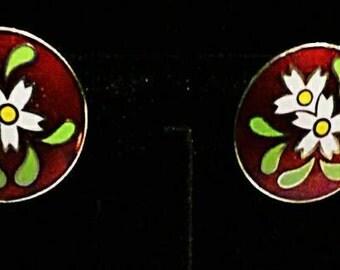 Vintage Czech enamel screw-back earrings