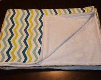 Blue & Green Chevron Flannel  Minky Blanket.