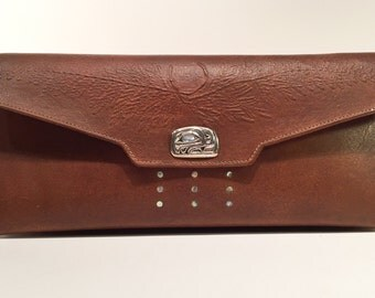Leather Clutch Purse w Sterling NW Native Trout Closure