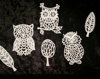 Owl & Leaves Cake Lace, Edible Cake Lace