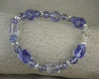 Blue Glass and Czech glass bracelet (WB85)