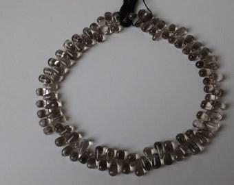"10x6 mm Side Drilled Teardrop Smoky Quartz beads 14.5""strand  ( #J980)"