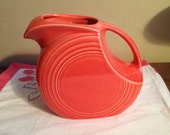 20% OFF Use Coupon XMAS20 Vintage Fiestaware Homer Laughlin Art Deco Pitcher Retired Persimmon Glazed Shade!  Near mint vintage condition!
