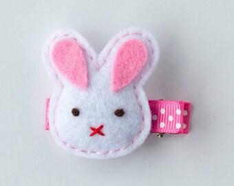 SALE Easter bunny handmade puffy felt hand sewn hair clip