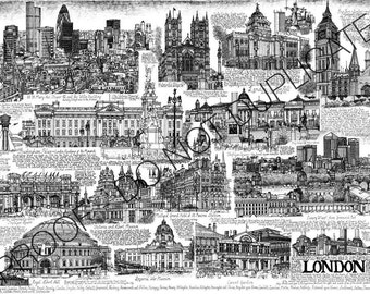 City of London Ink Cityscape Drawing