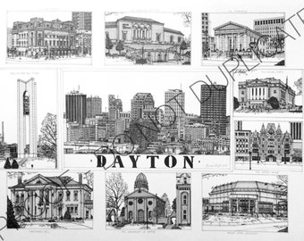 Dayton, Ohio Ink Cityscape Drawing