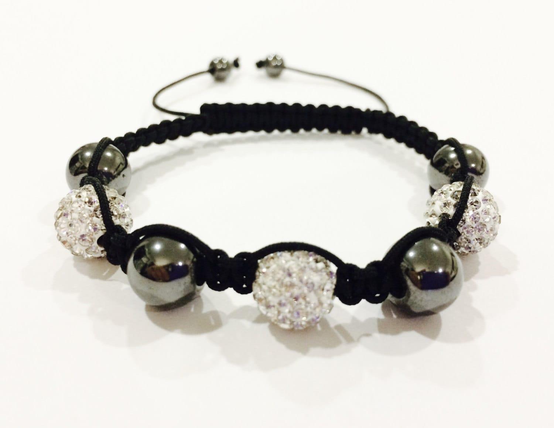 Hematite and white crystal bead shambala bracelet