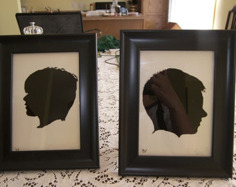 Custom silhouettes  done in reverse paintings.