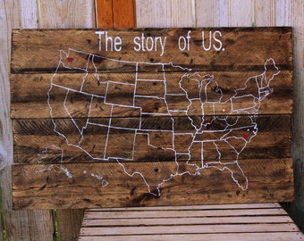 "Rustic ""The Story of US"" U.S. Us usa map  Custom Reclaimed Pallet Wood sign Home Couples journey  duty station Air Force army personalized"