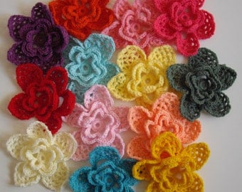 Set of Three (3) Big Crochet Flowers In Many Colors