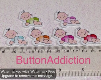 Crawling Baby Button pack of 10
