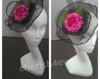 Black Fascinator With Pink Flower