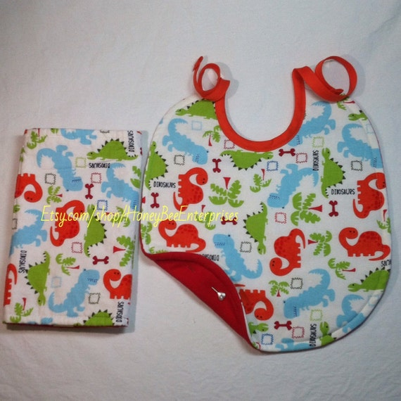 Baby boy bib and burp cloth dinosaur fabric by for Baby dinosaur fabric