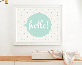 Baby Art Print, Printable Hello Wall Art, Modern Nursery Art Print, Baby digital art, Instant download (BabyArt AA4)